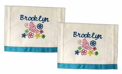 New Blue Embroidered Personalized Butterfly Set of 2 Burp Cloths