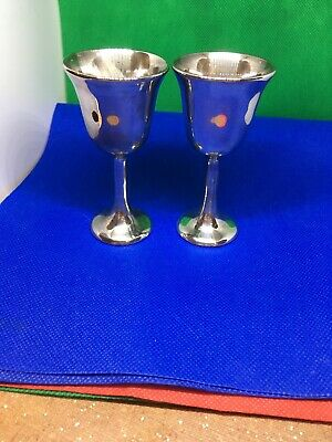 Set (2 )Silver Plated Sheridan Wine Goblet 4 Inches High Italy
