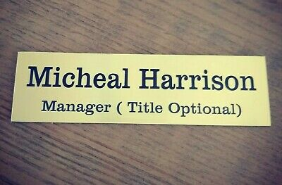 Personalised name plate office door house shop Adhesive door sign Gold Colour
