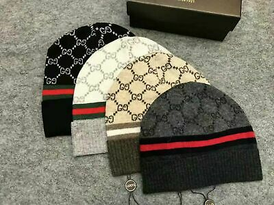 NEW Authentic GUCCI Unisex Knit Beanie Hat Silk/Wool Blend 4 colour