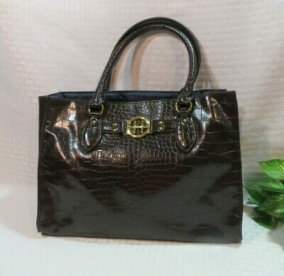 Tommy Hilfiger Dark Brown Crocodile Faux Leather Shoulder Handbag Purse