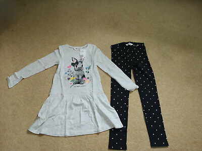 Girls H&M Tunic Top,shirts  & leggings Size 6-7-8 Years rabbit,clothes bundle