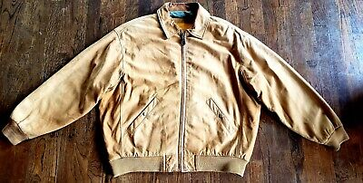 TIMBERLAND MENS XL Leather A 2 bomber Jacket Tan Oiled