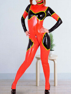 100% Latex Rubber Gummi Ganzanzug Tights Woman Black and Red Catsuit Suit S-XXL