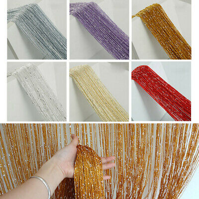 Glitter String Curtain Panels Door Fly Screen Room Divider Voile Net Curtains