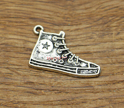 10 High Top Sneaker Running Shoe Charms Pendants Antique Silver Tone 30x20 2295