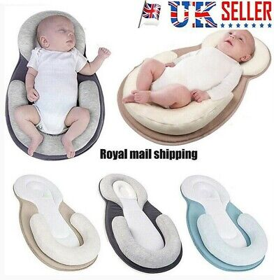 Infant Baby Newborn Pillow Cushion Prevent Flat Head Sleep Nest Pod Anti Roll UK