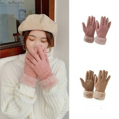 Women Winter Faux Fur Suede Touch Screen Gloves Warm Fleece Windproof Mittens