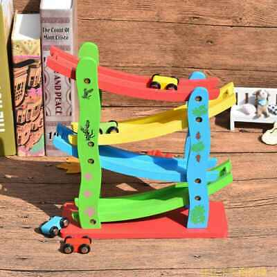 Wooden Ramp Racer Click Clack Race Track Playset + 4 Race Cars Kids Toy Gift