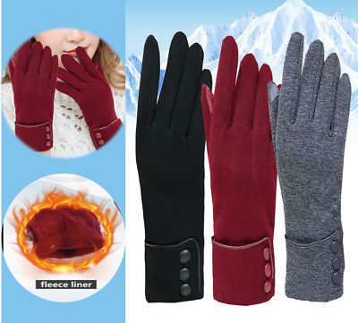 Ladies Womens Winter Gloves Warm Fleece Lined Thermal Button Touch Screen Gloves