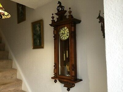 19th century Gustaf Becker Large twin weighted Wall clock