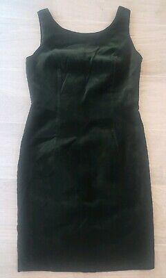 Vintage Ladies Dark Bottle Green Fitted Pencil Sleeveless Dress From BHS Size 12