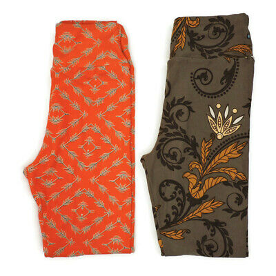 Lularoe Tween Leggings Winter Style Purple Orange Gold Gray Set of 2 Butter Soft