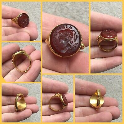 Rare ancient Roman gold and carnealian  intaglio ring