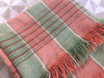 Vintage Welsh Wool Check Blanket / Throw - Orange Green & Cream Double Bed Size