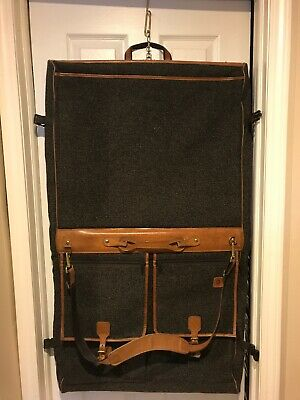 VTG Hartmann Tweed Leather Four Suiter Garment Carry On Luggage Bag Suitcase USA