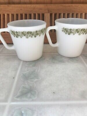 Lot 2 Vintage Pyrex #1410 Crazy Daisy Mugs Green Floral Milk Glass Coffee Cups