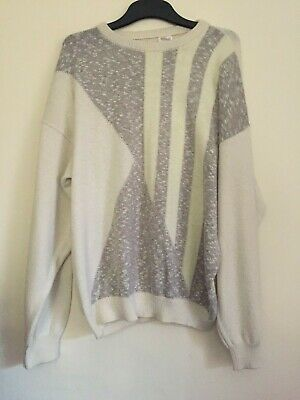 St. Michael Cream Vintage Retro Style Mens Jumper Size M