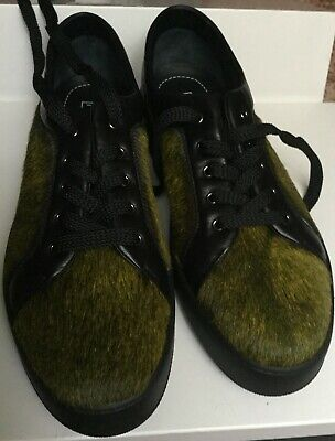 Women's shoes with fur inserts Max Mara, brown green, size 41 Scarpe Donna