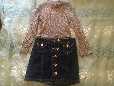 Girls denim skirt and grey cropped top aged 7-9