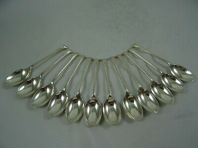 SUPERB set x 12 `ALBANY` pattern solid silver TEA SPOONS, 1988, 310gm
