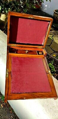 Antique 3fold tunbridge Writing slope With Working Lock &key &a  Glass inkwell