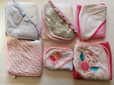 Lot of 6 Baby Girls Hooded Towels Pink Owl Unicorn White Blue Bath