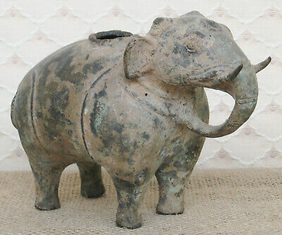 Antique Khmer Bronze elephant Of Primative Form Statue Ceremonial Vessel