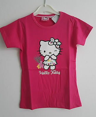BNWT  Lovely Girls Hello Kitty Pure  Cotton T-Shirt Top Hot Pink  6-8 Years