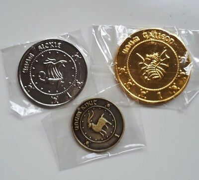 3 Harry Hogwarts Gringotts Bank Wizarding Galleons Commemorative Coins hagrid
