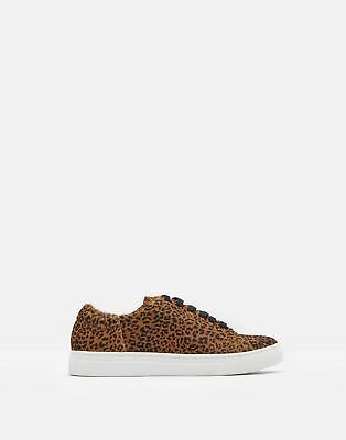 Joules Womens Solena Luxe Leather Cupsole Trainers in OCELOT Size Adult 7