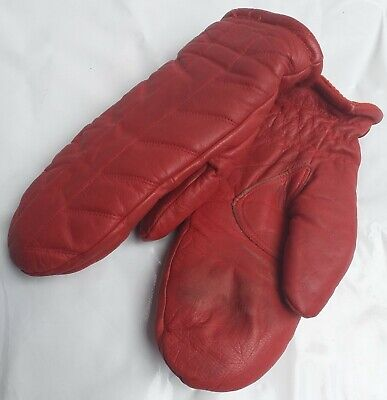 Ladies Vintage Retro Style Faux Leather Mittens Size Small Fleece Lined