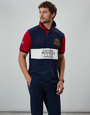 Joules Womens Official Burghley Horse Trials Polo Shirt in FRENCH NAVY Size XXL