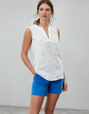 Joules Womens Juliette Print Sleeveless V Neck Top in WHITE SAIL Size 14