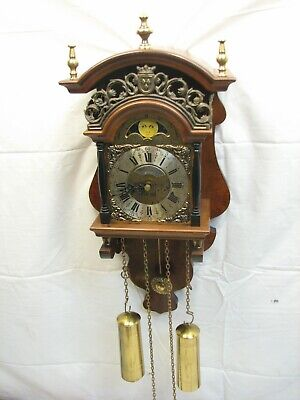 Warmink Wuba Chiming Vintage Wooden Wall Clock 8-Day Ornate Dutch Holland