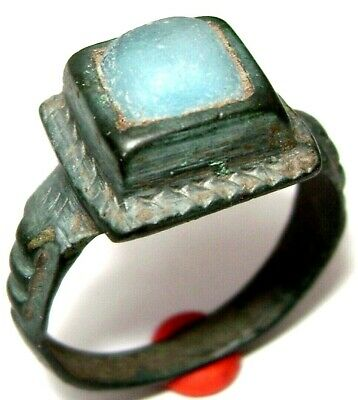 Ancient Medieval bronze finger ring with stone.