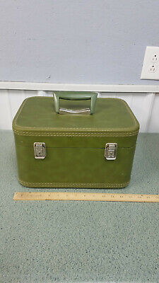 Vintage Luggage Green Hard Shell Makeup Case with Mirror