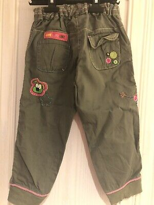 NEXT Girls Green Cargo Trousers Pants And Top 100% Cotton 3-4Years