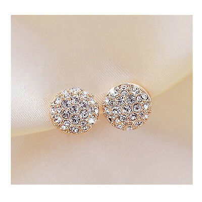 Engagement Wedding Bride Crystal Round Ear Stud Earrings 1 Pair Gold Jewellery