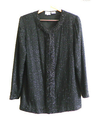 Vtg Stenay Evening Jacket Beading Silk Long Sleeve Round Neck Relaxed Fit Size M