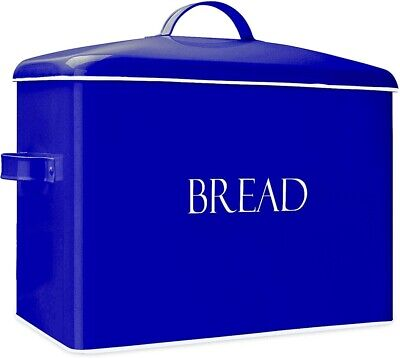Outshine Blue Metal Vintage Bread Box, Countertop Space Saving, Extra Large