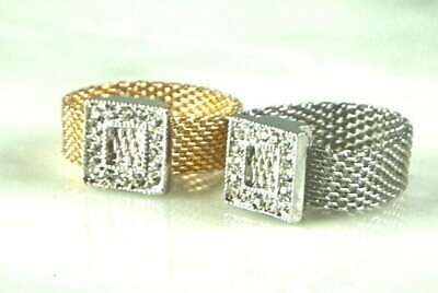 Designer Inspired, Mesh Ring With Square Crystal Accent, Choose Gold Or Silver