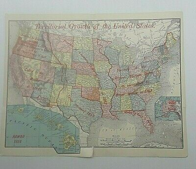 1895 Antique Color Rand McNally Map United States Territorial Growth Book Plate