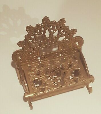 French Polished Brass Wall Toilet Paper Holder w Fan Crown Top Antique Replica