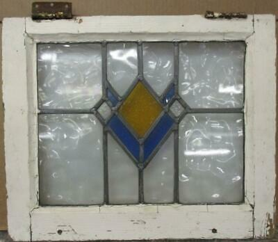 "OLD ENGLISH LEADED STAINED GLASS WINDOW Pretty Diamond Design 20.75"" x 17.25"""