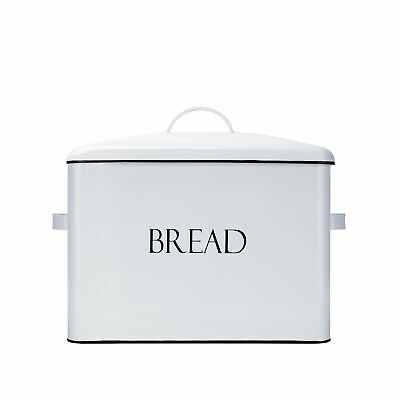 Outshine White Vintage Farmhouse Metal Bread Bin, Countertop Space-Saving