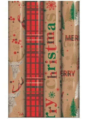 4 X 5M Rolls Traditional Tartan Reindeer Christmas Gift Wrap Wrapping Paper