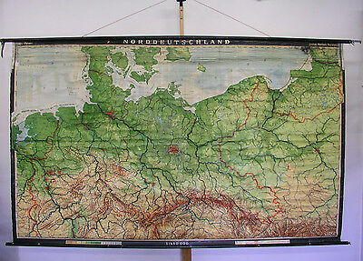 Schulwandkarte Map North Germany Pommern East Prussia West Prussia 1966 269x163