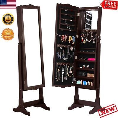 Wall Door Mounted Mirror Jewelry Cabinet Full Length Armoire Large Organizer LED