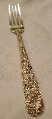 "Repousse by S Kirk & Son Sterling Silver Fork  7 1/4"" 52.26g"